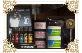 Products offered at the Groom Room Barber Shop